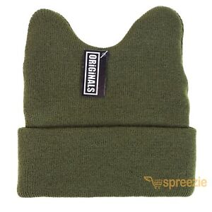 Olive Green Beanie Cat Ears Cuffed Warm Ski Winter Knitted Cap Hat Fashion Cute
