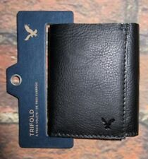 MENS AMERICAN EAGLE GENUINE LEATHER BLACK TRIFOLD WALLET