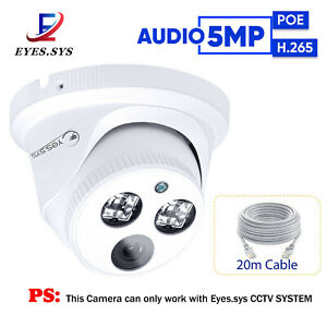 AUDIO H.265 Array LEDs Full HD 5MP  Dome Camera For Eyes.sys POE NVR CCTV System