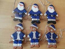 6 Anhänger - Holz - Weihnachtsmann + Bär - blau/ silber