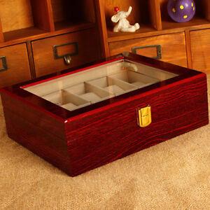 Uhrenkoffer Uhrenbox 10er Schaukasten Uhrenkasten Uhrenvitrine Wood Watch Holz