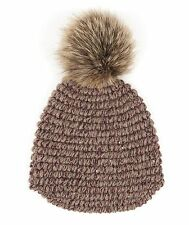 BRUNELLO CUCINELLI Cashmere Sequin Knit Fox Fur Pom Pom Beanie Hat Size M