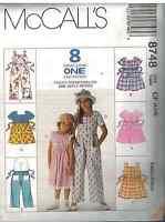 8748 UNCUT Vintage McCalls SEWING Pattern Girls Dress Jumpsuit Romper EASY OOP