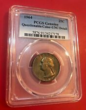 1964 Washington Quarter PCGS GENUINE UNC DETAIL QUESTIONABLE COLOR TONED