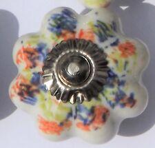 Céramique Tiroir poignées de placard fleur blanche avec