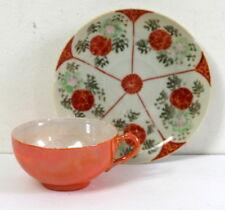 Tasse japonaise ancienne irisée orangée