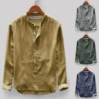 Mens Autumn Winter Button T-Shirt Casual Linen Cotton Long Sleeve Top Blouse Tee