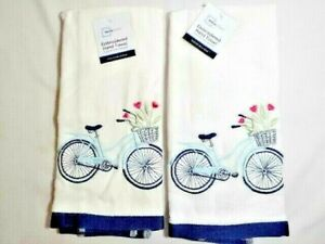 Bicycle Embroidered Kitchen or Hand Towels 2-Pc Basket with Tulips Blue White