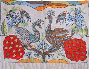 """Ivory Peacock Pair Wall Decoration Rug Carpet Tapestry Crewel Embroidery 36""""x24"""""""