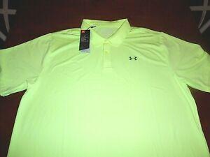 Under Armour 2XL Golf Polo HeatGear/AntiOdor/UPF/Stretch Yellow Loose Fit XXL