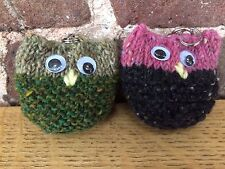 Pair of Hand Knitted Owl Key Rings: One Greens/One Pink & Black by KnittedNature