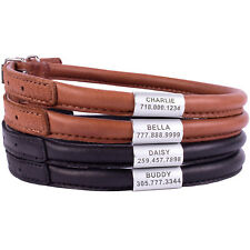 Rolled Leather Dog Collars Soft Padded Round Collar for Dogs Personalized ID TAG