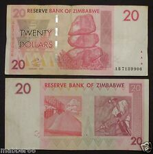 Africa Zimbabwe $20 Dollar Circulated Hyper Inflation Banknote,2007 Pre-Trillion