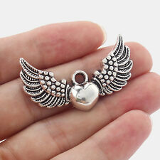 10 x Antique Silver Heart Angel Wings Charms Pendants Jewelry Findings 45mm