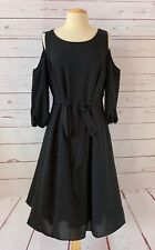 NWT $169 ADRIANNA PAPELL Size 14W Plus Size Crepe Cold Shoulder Dress Black