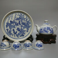 Chinese Blue and White Porcelain Goldfish One's Set Way 6PCS Gongfu Tea Pot Cups