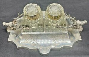 1893 SILVER PLATED INK WELL SET CRYSTAL GLASS INKWELLS TEACHER RUSHWORTH VICT