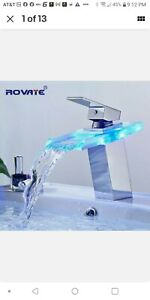 ROVATE LED Basin Faucet Brass Waterfall Temperature Colors Change Bathroom Mixer