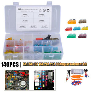 140x Nylon Mix Assorted Car Motorcycle Blade Fuse 5-25A 30Amp w/ Fuse Holder Box
