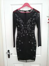 Lipsy London Michelle Keegan Black Embroidered Lace Bodycon Dress Size 8 BNWT