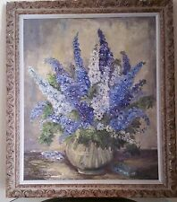 Oil Painting. Vase With Flowers. Signed by artist Ferol Stofft. Good Condition.