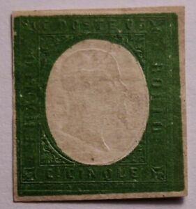 Sardinia RARE 1854 5c Verde Mint no gum non emessi.€10000. Repair/Thin as photos