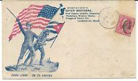 Estados Unidos. Sobre patriótico con soldado y banderas circulado de Leomister
