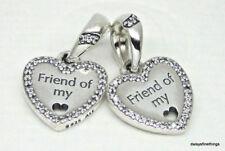 NWT AUTHENTIC PANDORA SILVER CHARM  HEARTS OF FRIENDSHIP #792147CZ