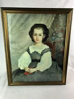 Renoir Mademoiselle Romaine Lacaux Vintage Lithograph French Framed Portrait