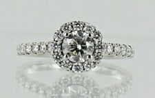 18ct White Gold Diamond Halo Solitaire Engagement Ring 1ct DIA Weight REF2305
