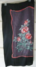 "Handmade Dao black brown green red rose floral silk scarf  36"" square signed"