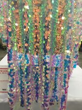 "Fantastic Hologram big dot sequin mesh fabric 54"" pink pearl. Sold by the yard."
