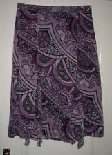Oscar B - Mauve & Black Paisley Print Skirt New With Tags UK20 (46)