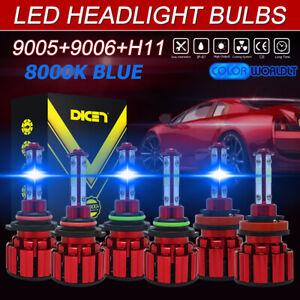 6PCS 9005+9006+H11 4-Side LED Headlights Bulb Kit Hi-Lo Beam Foglight 8000K Blue