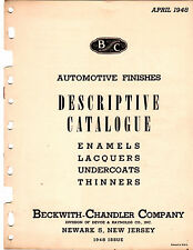 1948 BECKWITH CHANDLER AUTOMOTIVE FINISHES CATALOGUE ENAMELS LACQUERS THINNERS