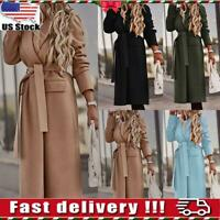 Womens Woollen Trench Coat Overcoat Ladies Cardigan Belted Outwear Long Jacket