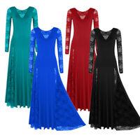 Womens Ladies Long Sleeve Lace Modern Dance Maxi Dress Prom Waltz Tango Ballroom