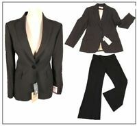 "BNWT Next PETITE Ladies Trousers & Jacket Suit size 10 12 Brown Stripe leg 29"""