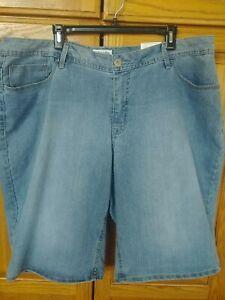 St. John's Bay Women's Plus Size 22W  Bermuda Denim Jeans Shorts