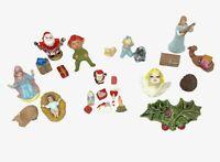 Lot of Vintage Hand Painted Ceramic Christmas Village Figures Mini Ornaments