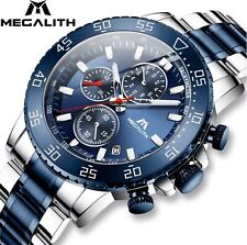 Megalith Top Brand Chronograph Luxury Waterproof Mens Big Watch Stainless Blue