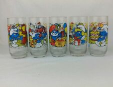 Set Of 5 Peyo 1983 Celebration Party Smurfs Collectable Character Glasses!
