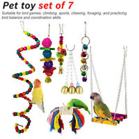 7 Pcak Beaks Metal Rope Bird Parrots Perches Cage Toys Set Hammock Swing Hanging
