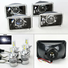 "FOUR 4x6"" Glass Projector Black Chrome Headlights w/ 6000K 36W LED H4 Bulbs GMC"