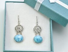 Genuine Larimar AAA 10X12mm 10.2ct  Classic Style Earrings .925 Sterling Silver