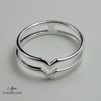 Solid 925 Sterling Silver Midi Ring Double V Design, Knuckle, Stacking +Gift Bag