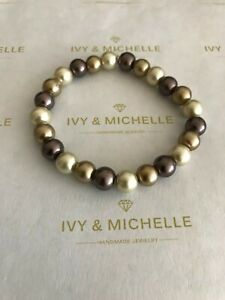 Glass Pearl Brown/ Pearl Mocha/ Pearl Bronze Beaded Stretch Bracelet