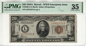 1934 A $20 FEDERAL RESERVE NOTE HAWAII WWII EMERGENCY ISSUE FR.2305 PMG CH VF 35