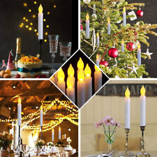 12PCS Flameless Taper LED Flickering Battery Operated Candles Lights Party Decor