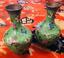 Pair Chinese Green Bronze Enamel Floral Vases 7.5""